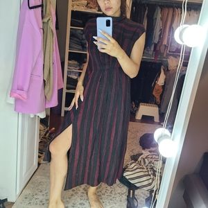 Zara black and red striped assymetrical dress